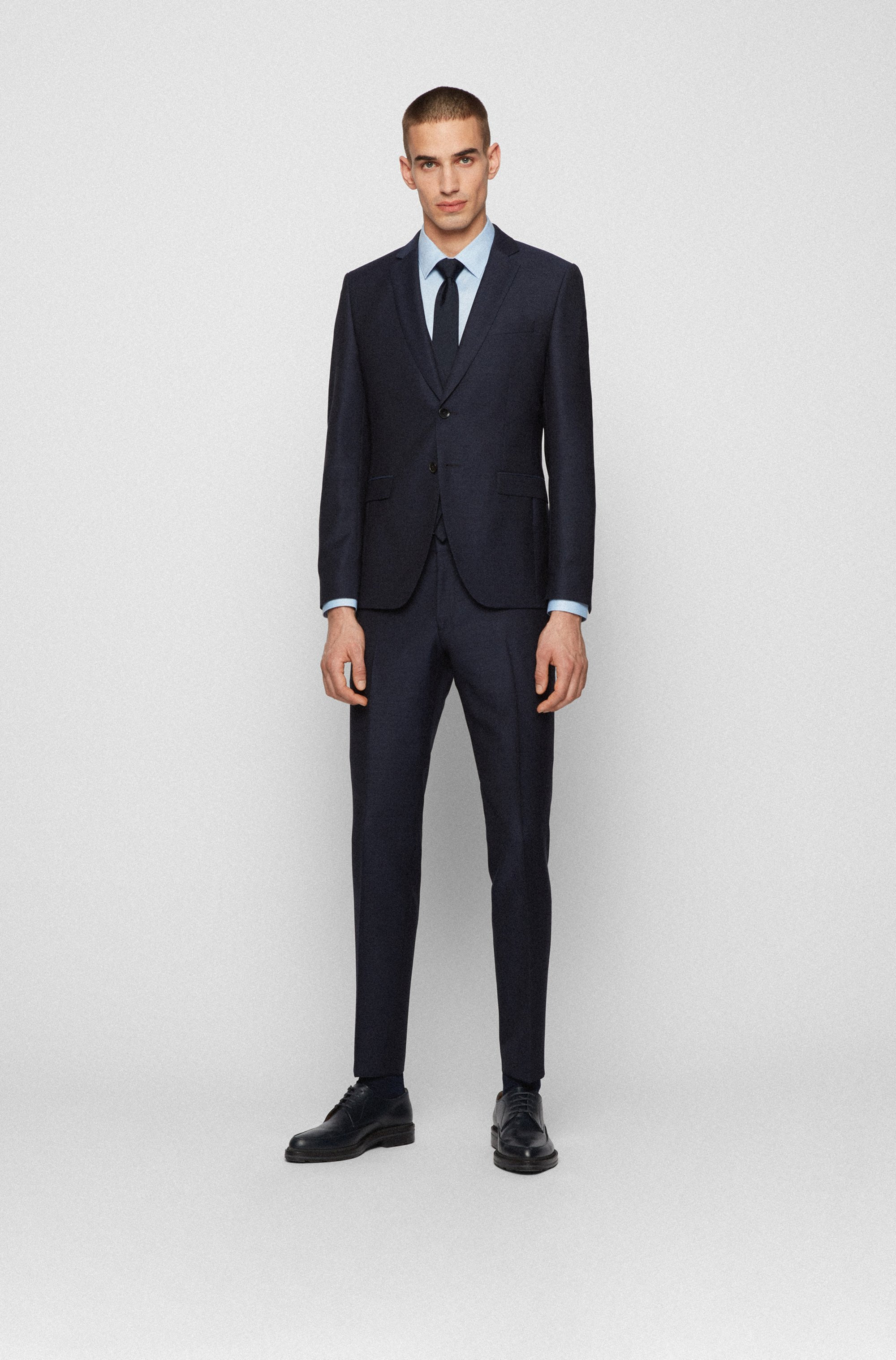 Extra-slim-fit three-piece suit in wool serge