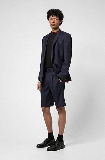 天然弹力初剪羊毛斜纹布定制短裤,  401_暗蓝色