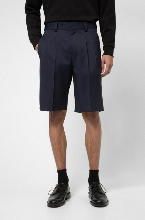 Tailored shorts in virgin-wool twill with natural stretch, Dark Blue