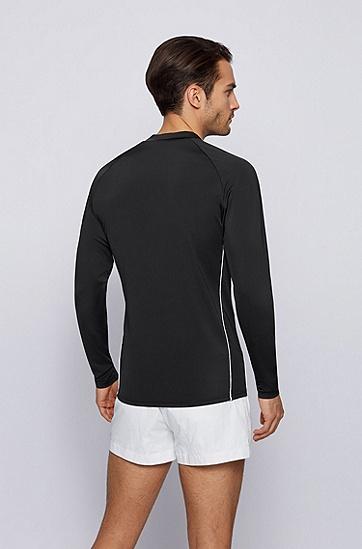 速干面料徽标装饰长袖防磨衣,  001_Black