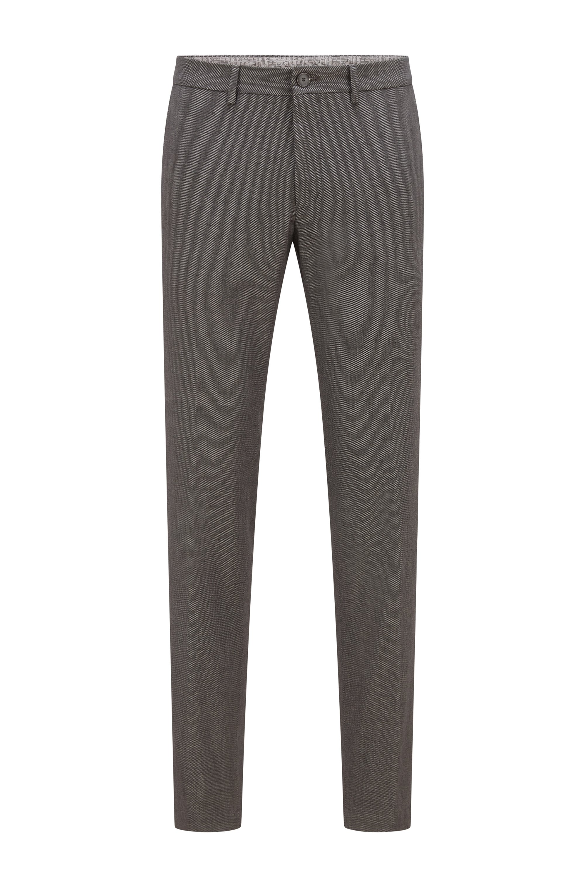 Extra-slim-fit stretch-cotton trousers with micro pattern, Dark Grey
