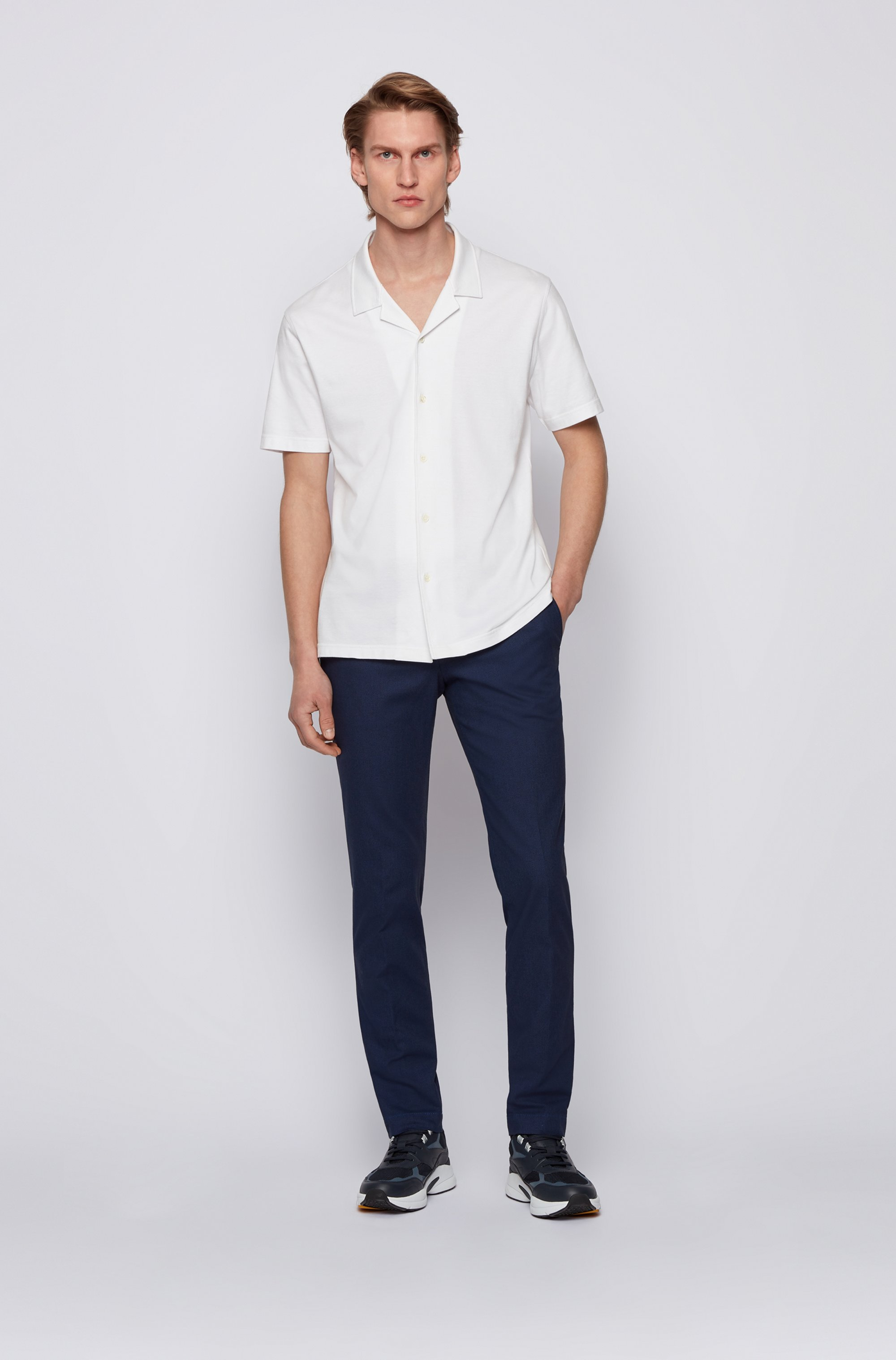 Extra-slim-fit stretch-cotton trousers with micro pattern