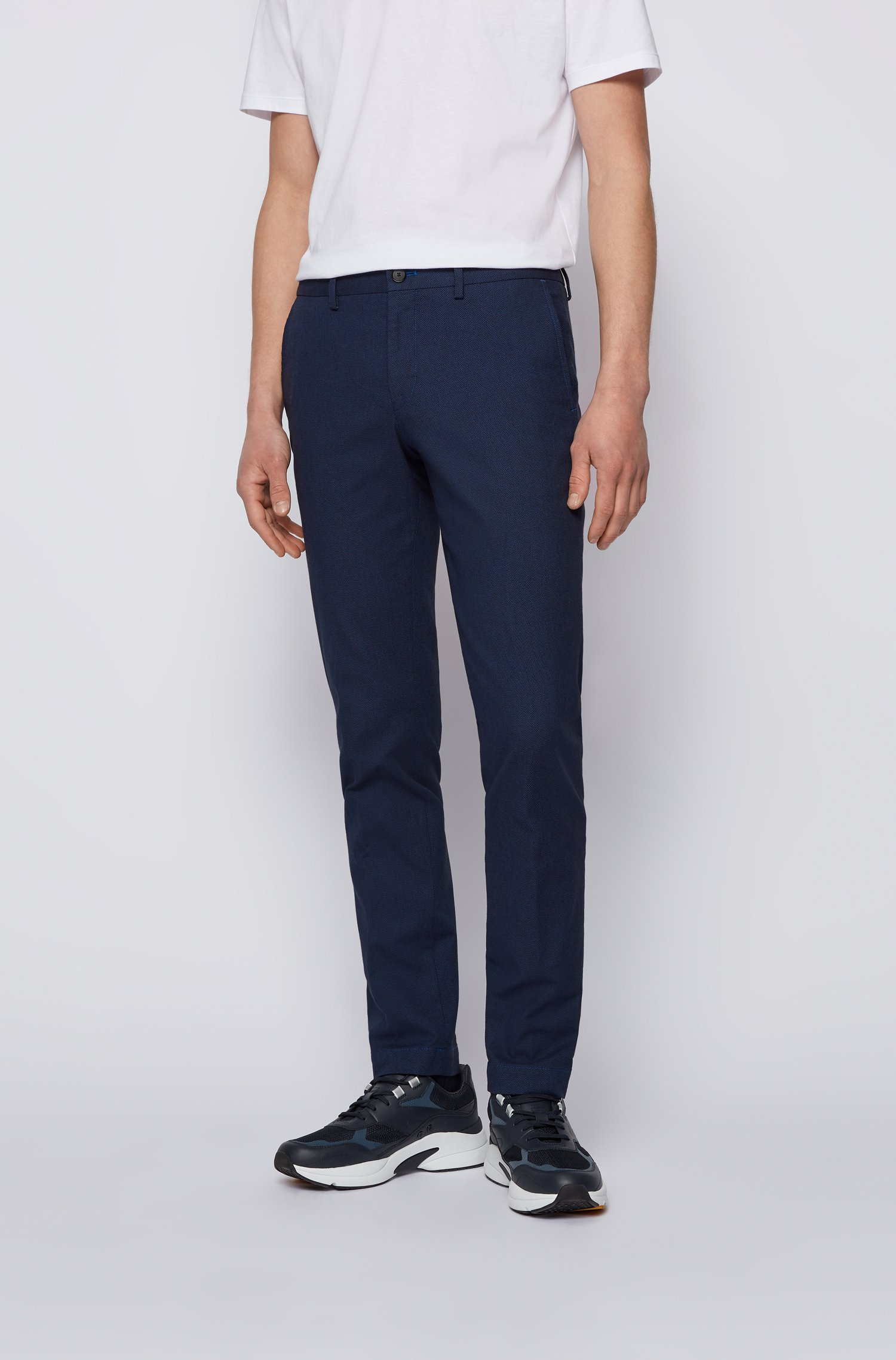 Extra-slim-fit stretch-cotton trousers with micro pattern, Blue