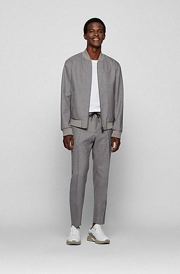 混色初剪羊毛修身长裤,  041_Silver