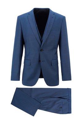 Slim-fit three-piece suit in virgin-wool serge, Blue