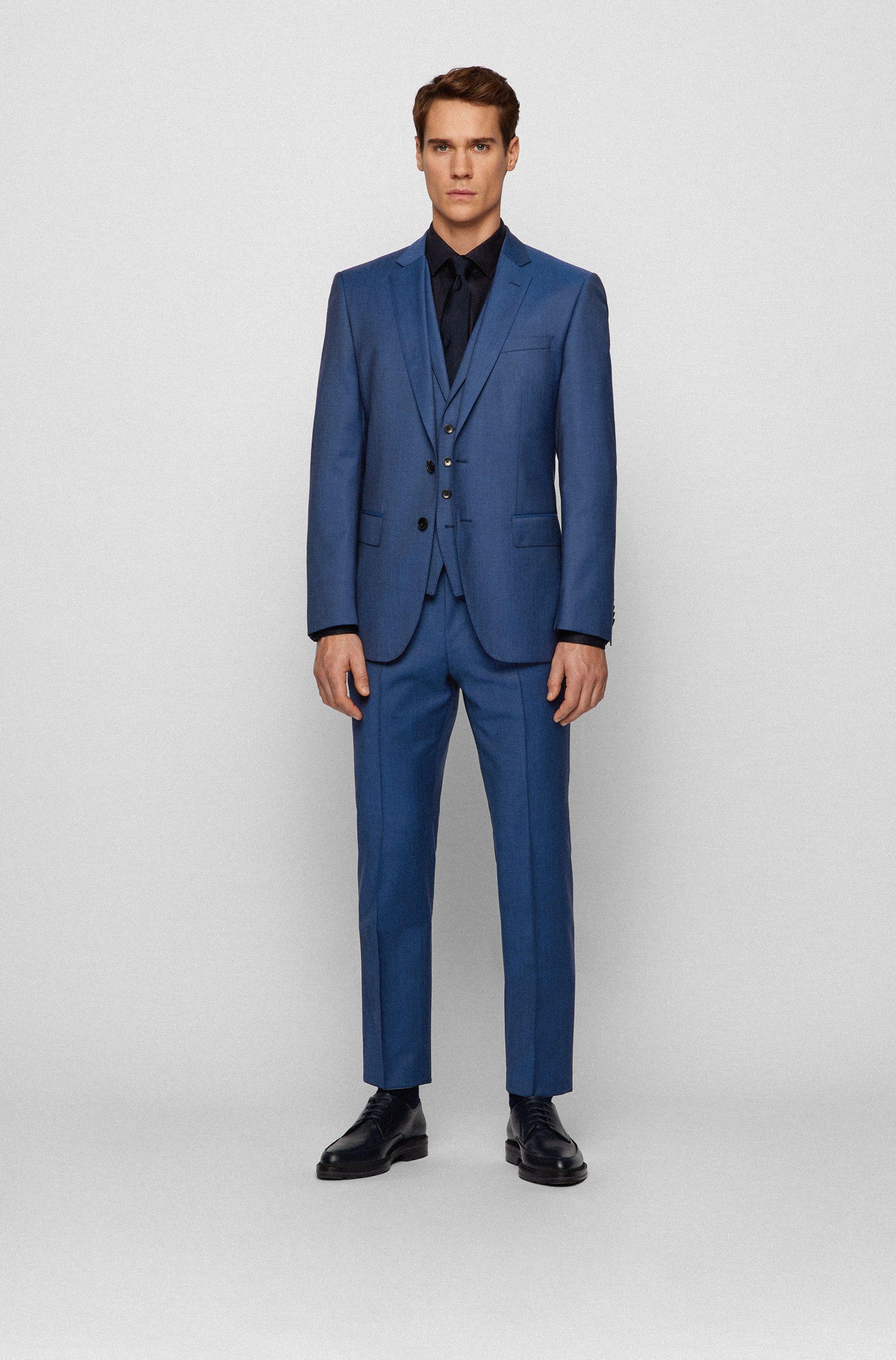 Slim-fit three-piece suit in virgin-wool serge