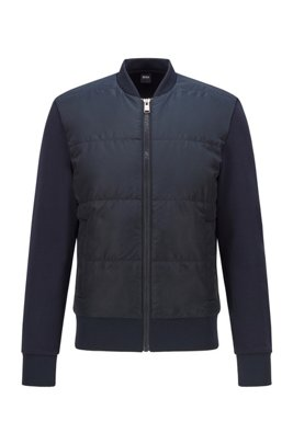 French-terry zip-through sweatshirt with quilted front panel, Dark Blue