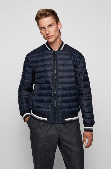 Down-filled bomber jacket with striped trims, Dark Blue