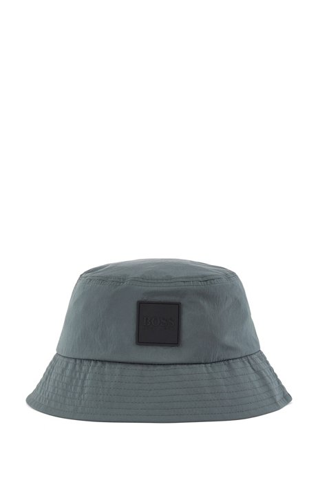 Cotton-lined bucket hat with logo badge, Dark Green