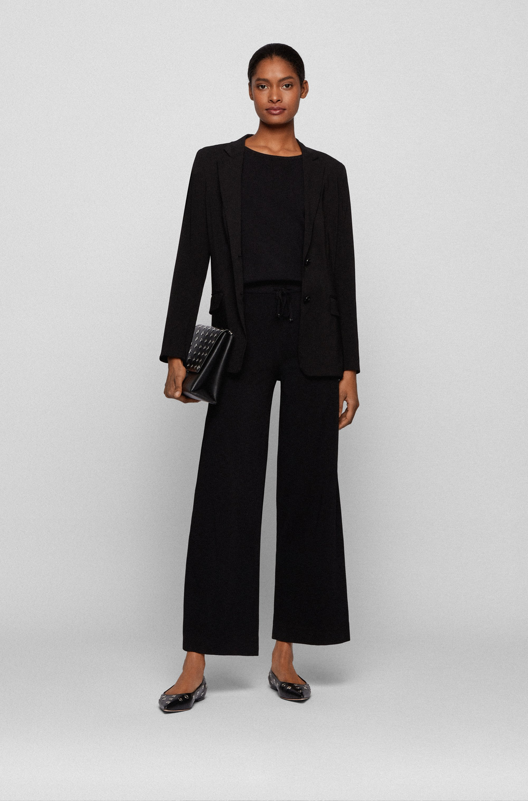 Regular-fit knitted jumpsuit with drawstring waist