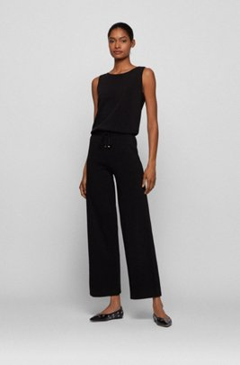 Regular-fit knitted jumpsuit with drawstring waist, Black