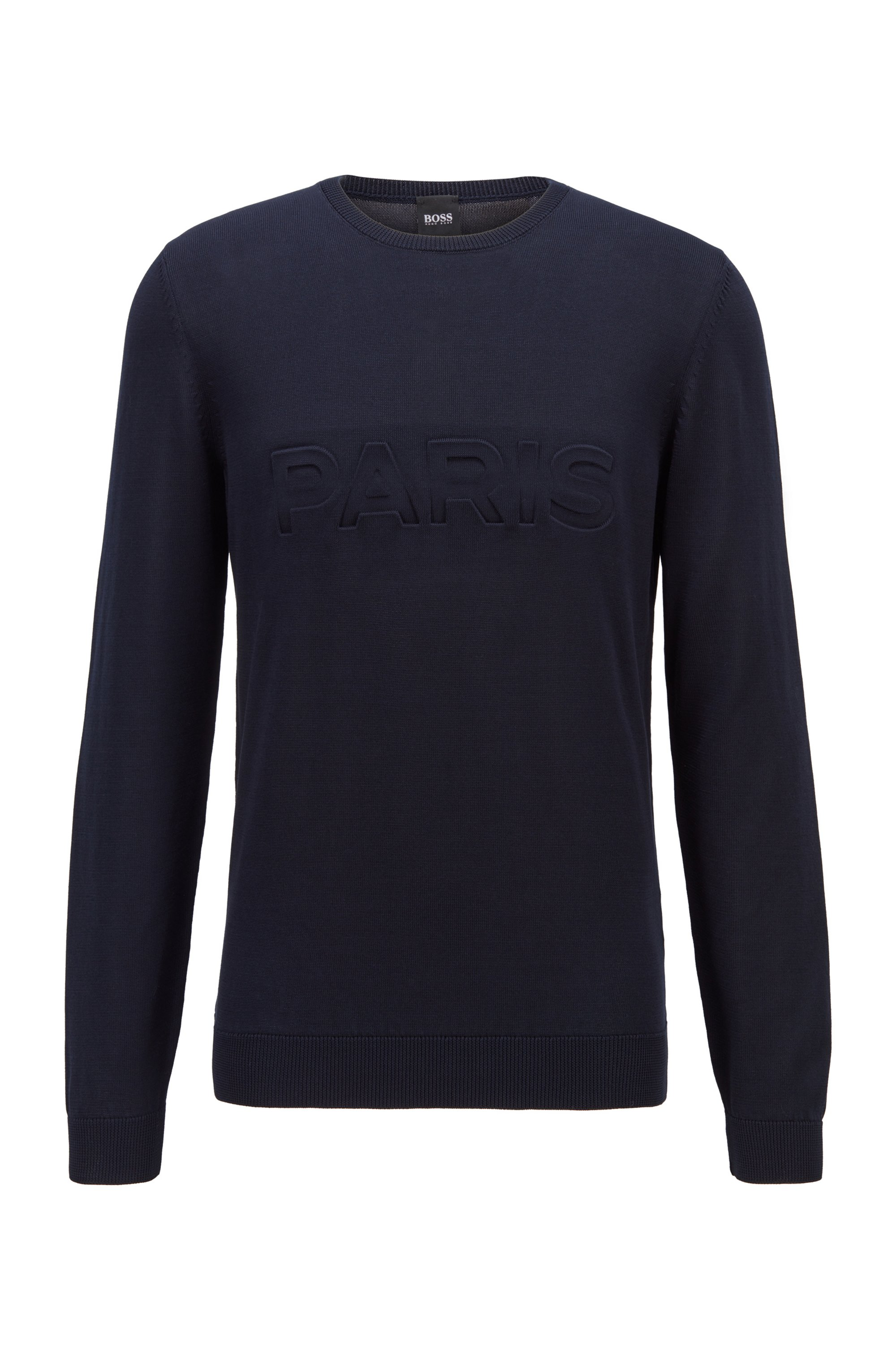 Mercerised-cotton sweater with Paris Saint-Germain FC lettering, Dark Blue