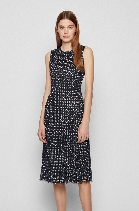 Sleeveless dress in stretch jersey with all-over pattern, Black Patterned