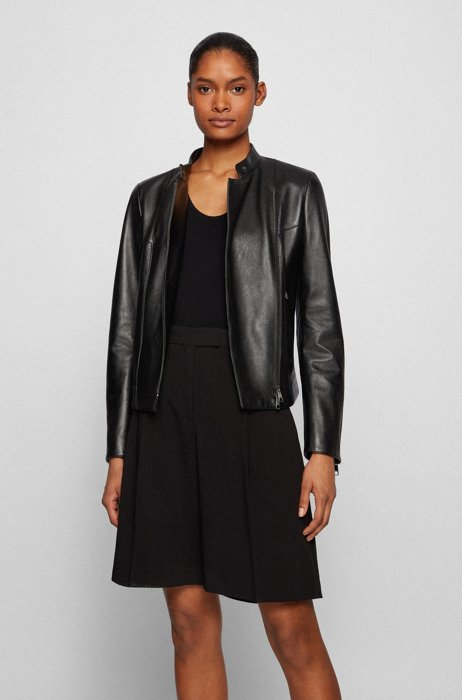 Asymmetric-front leather jacket with logo lining, Black