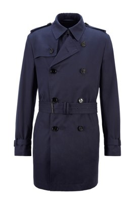 Brushed-cotton trench coat with water-repellent finish, Dark Blue