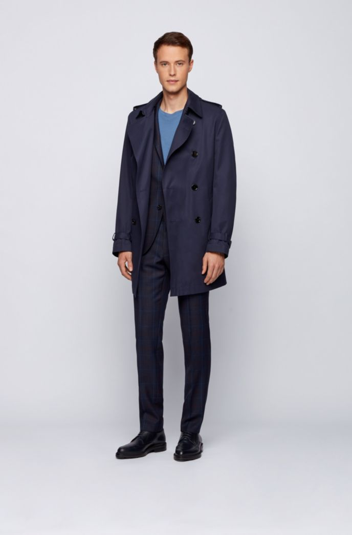 Brushed-cotton trench coat with water-repellent finish