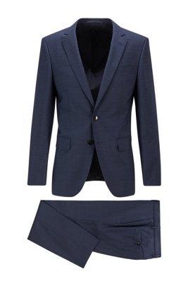 Slim-fit pak in een serge van scheerwol met dessin, Donkerblauw