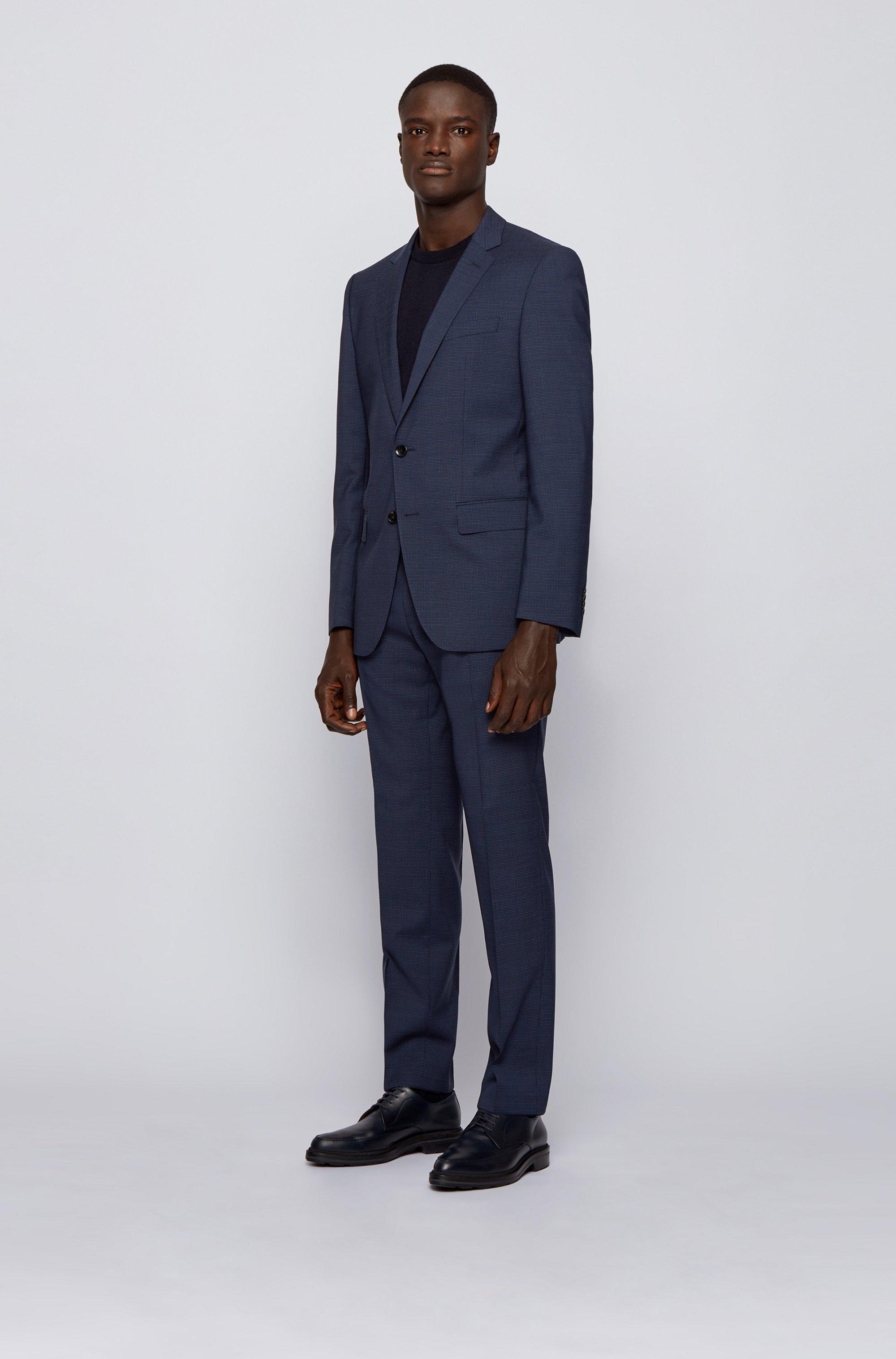 Slim-fit pak in een serge van scheerwol met dessin