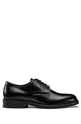 Derby shoes in brush-off leather, Black