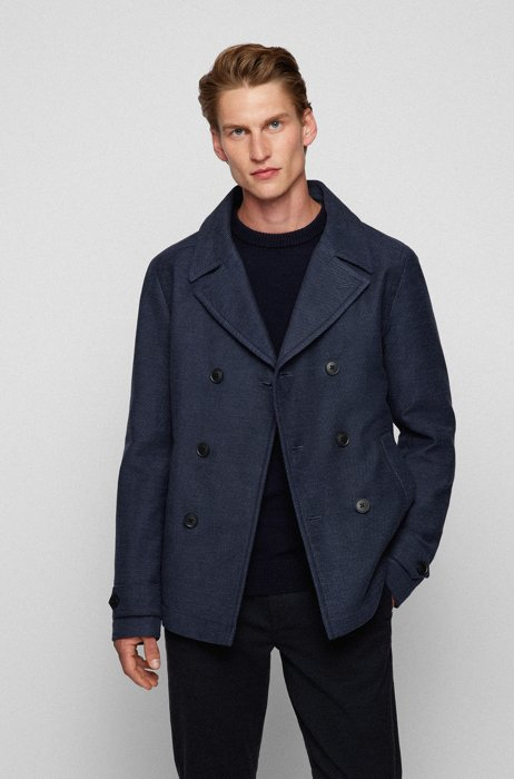 Double-breasted pea coat in a cotton blend, Dark Blue