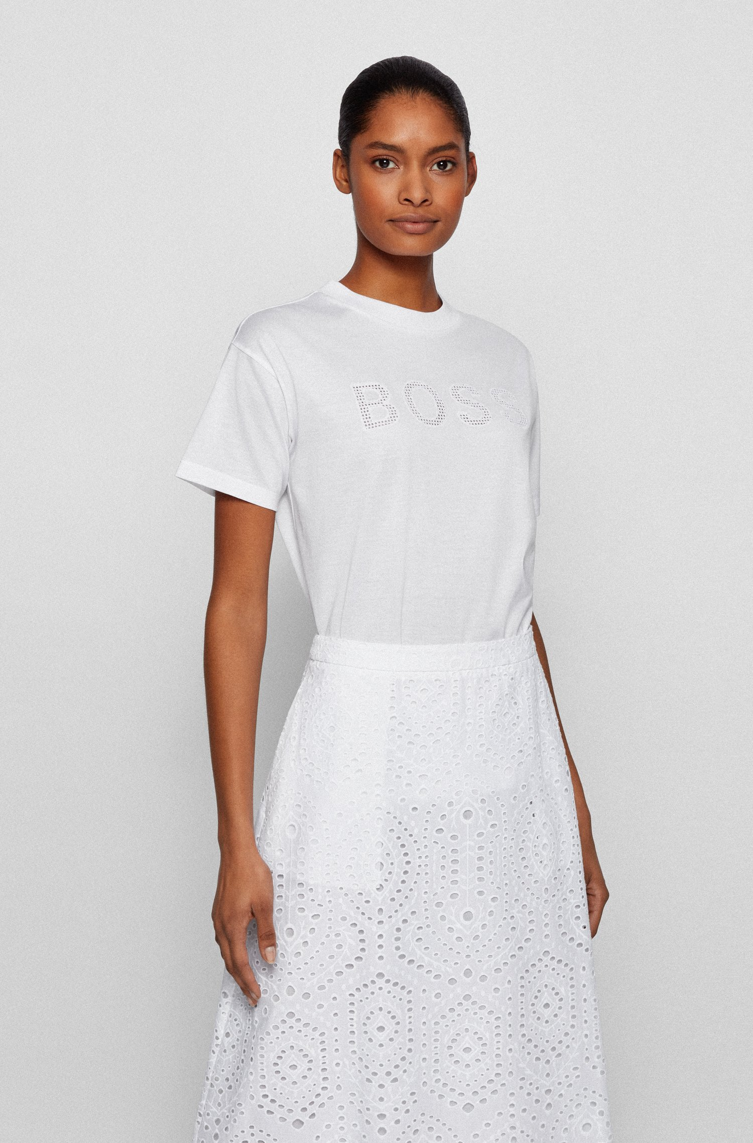 Organic-cotton T-shirt with perforated logo appliqué, White