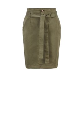 Stretch-cotton skirt with fabric belt, Khaki