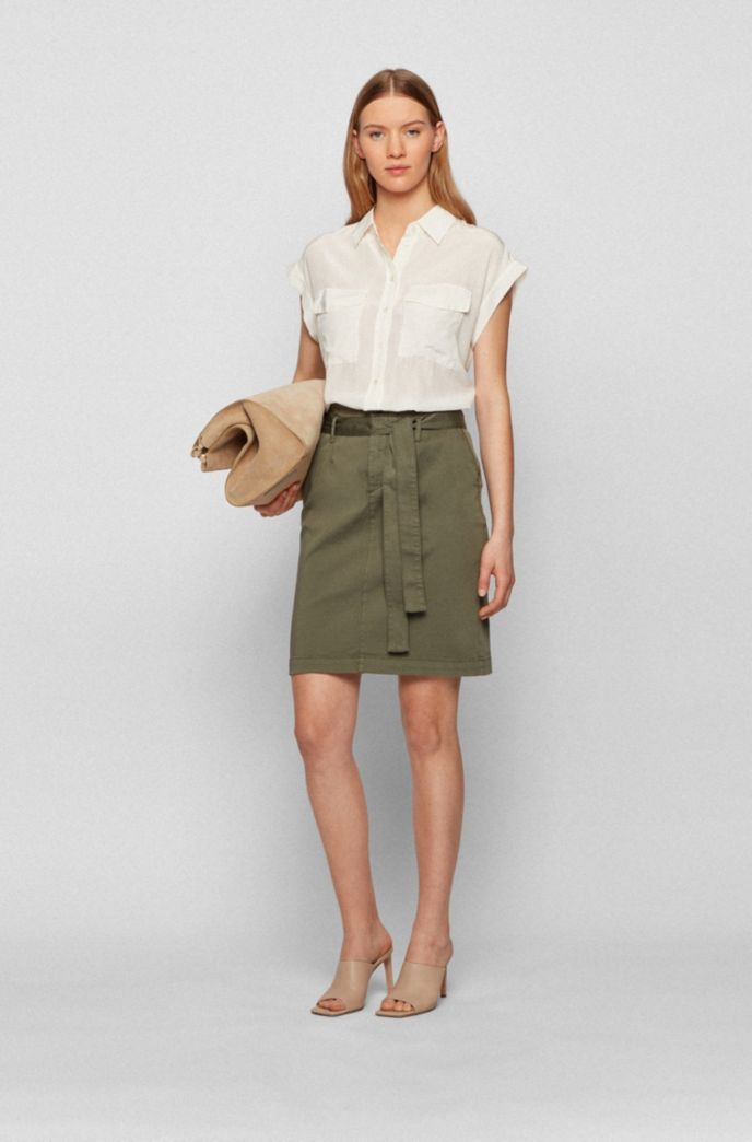 Stretch-cotton skirt with fabric belt