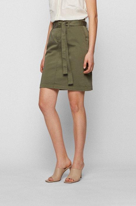 Falda de algodón elástico con cinturón de tela, Caqui