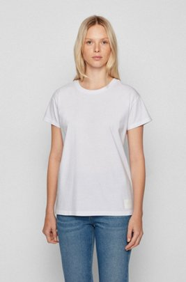 Relaxed-fit T-shirt in organic cotton with logo patch, White