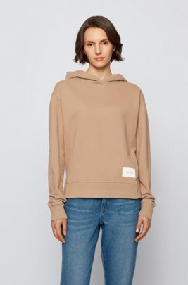 Relaxed-fit hoodie in French terry with logo patch, Beige