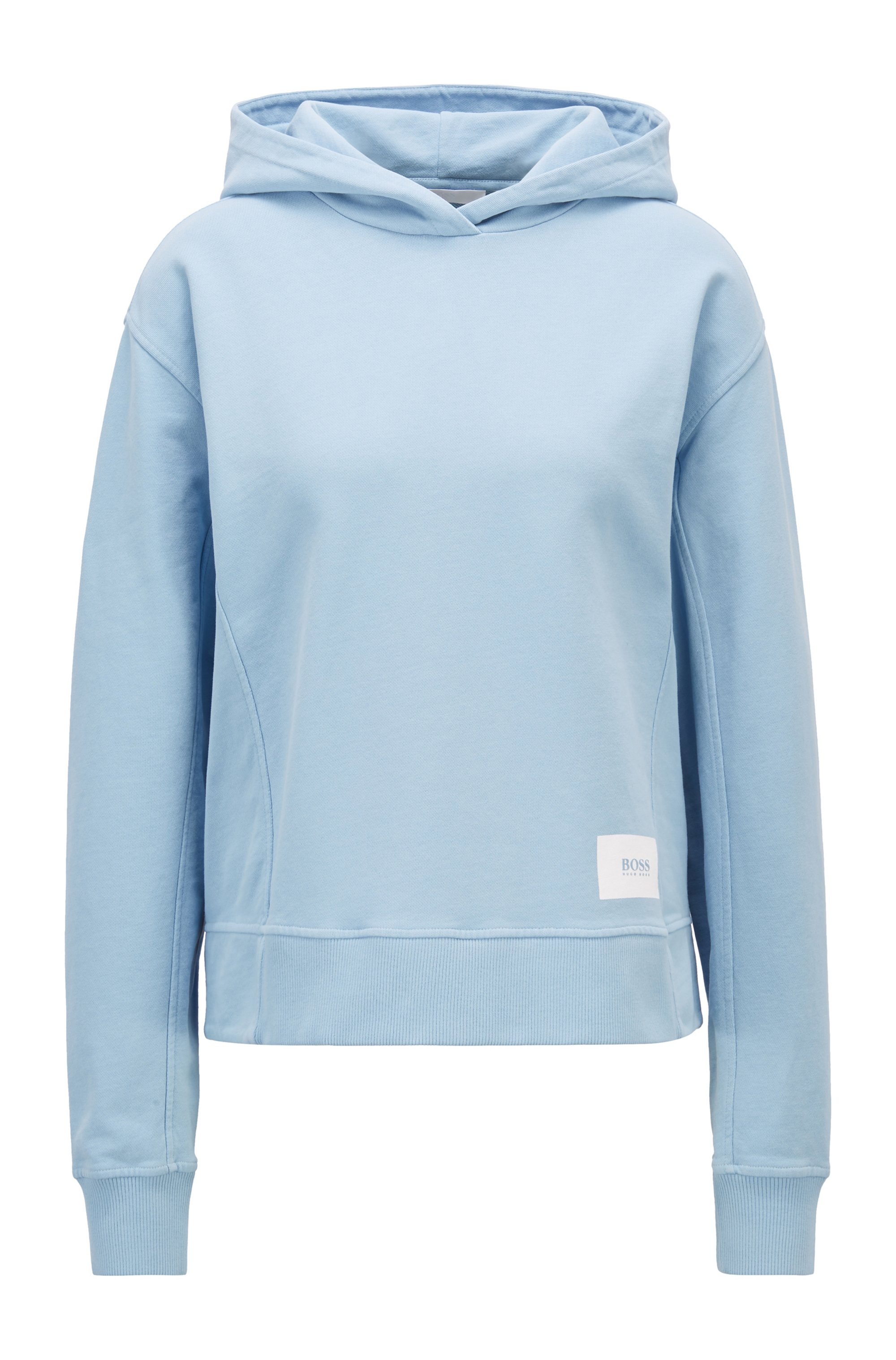 Relaxed-fit hoodie in French terry with logo patch, Light Blue