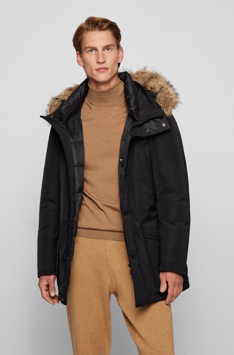 Water-repellent parka with down filling, Black