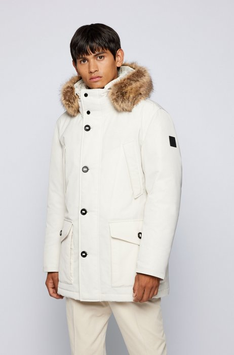 Water-repellent parka with down filling, White