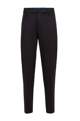 Tapered-fit trousers in bi-stretch cotton, Black