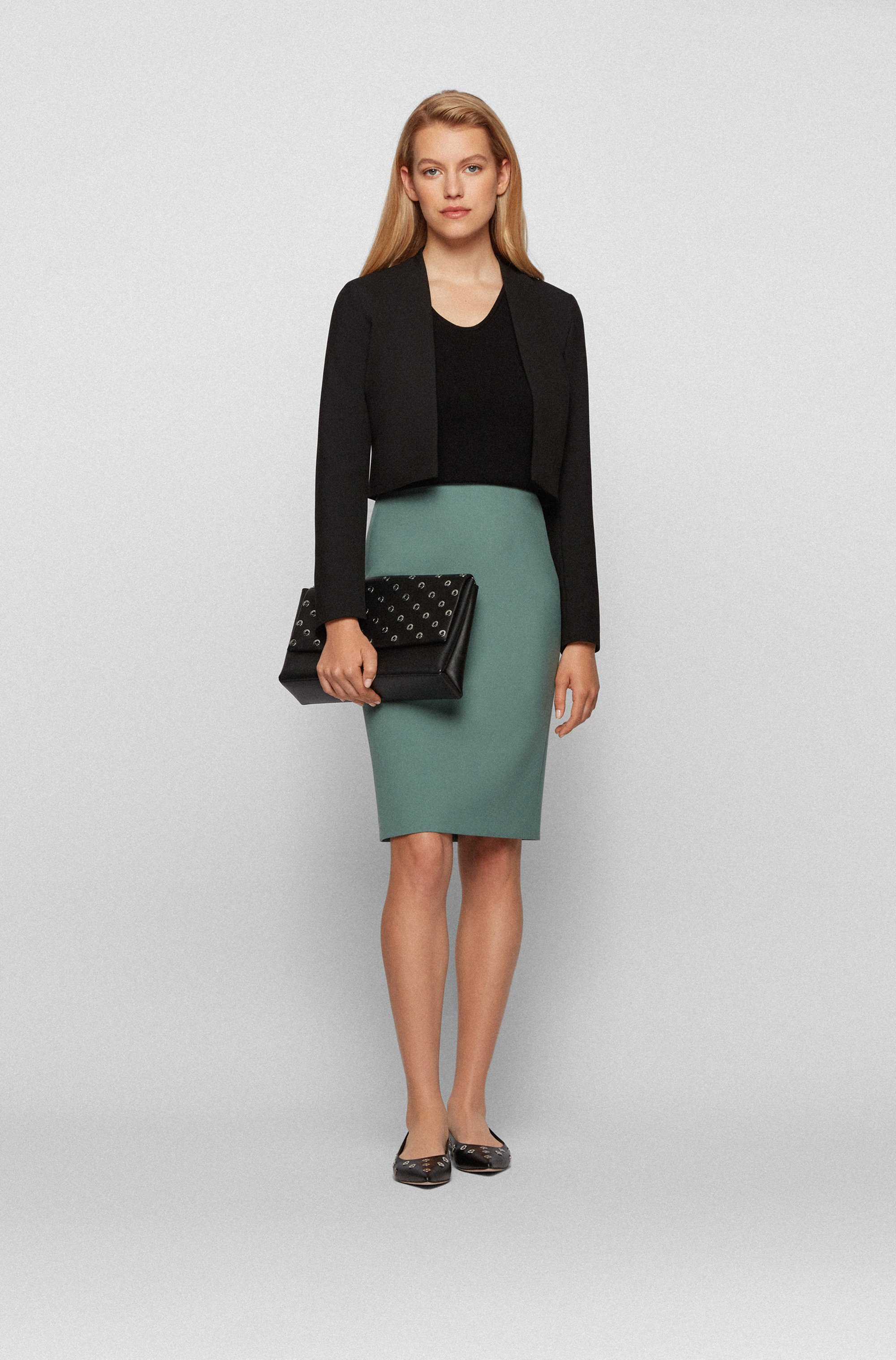 Regular-fit cropped jacket in stretch fabric
