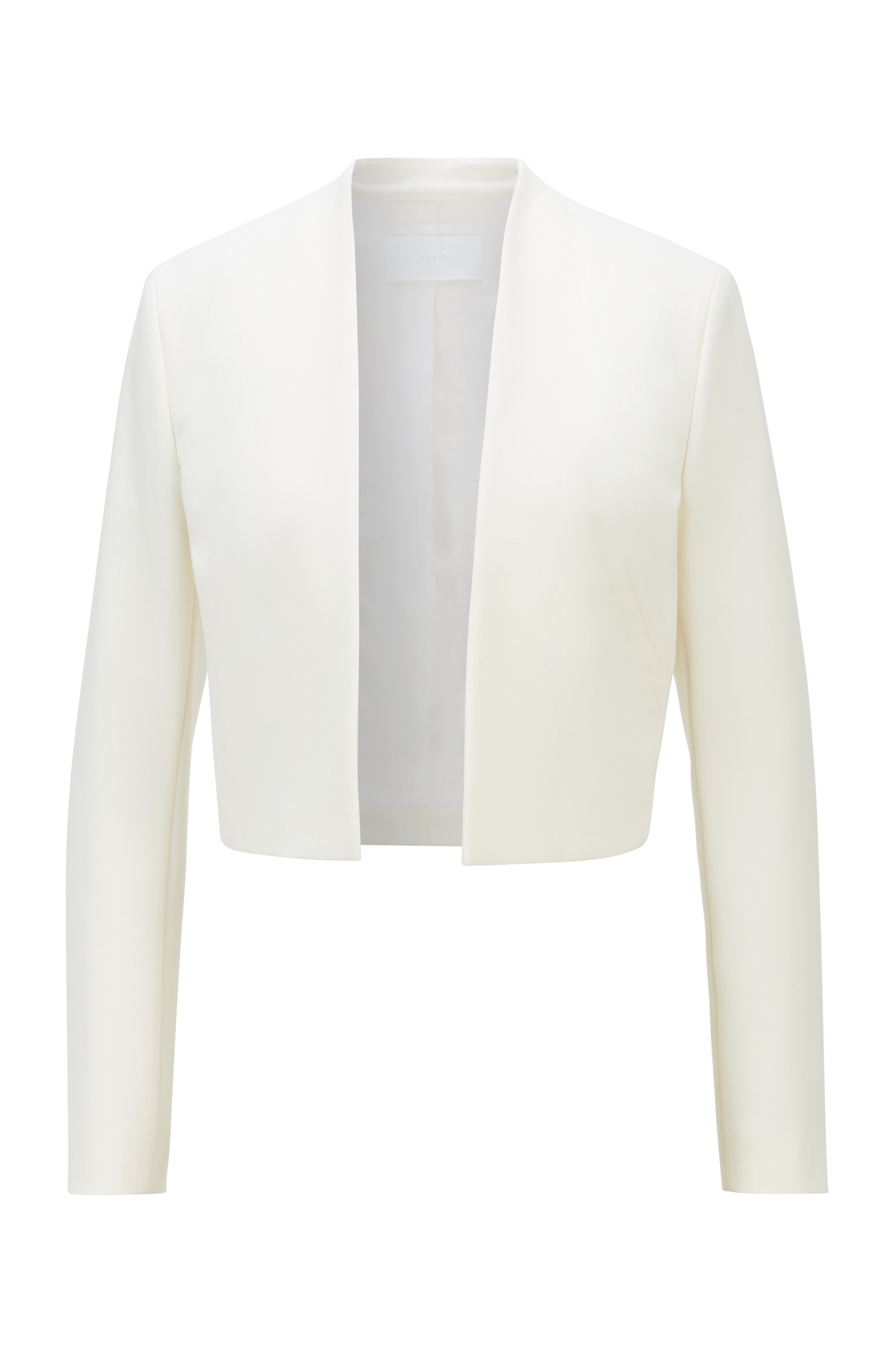 Regular-fit cropped jacket in stretch fabric, White