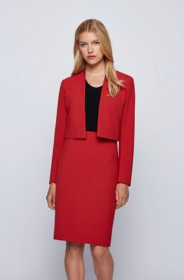 Regular-fit cropped jacket in stretch fabric, Red