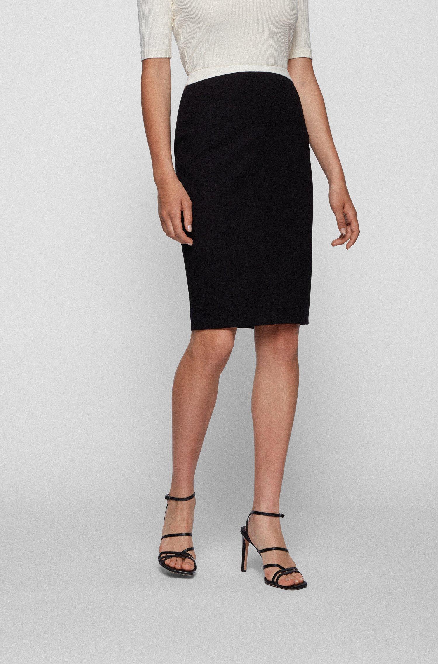 Falda lápiz en punto elástico con cintura en contraste, Negro