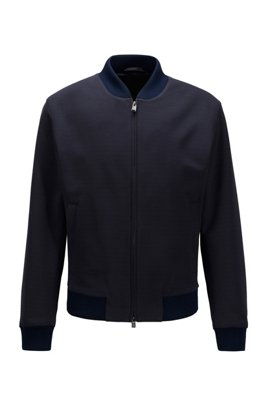 Blouson-style slim-fit jacket in micro-patterned fabric, Dark Blue