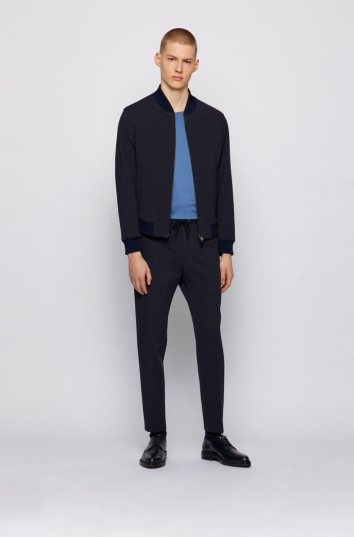 Blouson-style slim-fit jacket in micro-patterned fabric