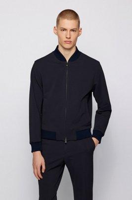 Blouson-style slim-fit jacket in micro-patterned fabric, Dark Blue