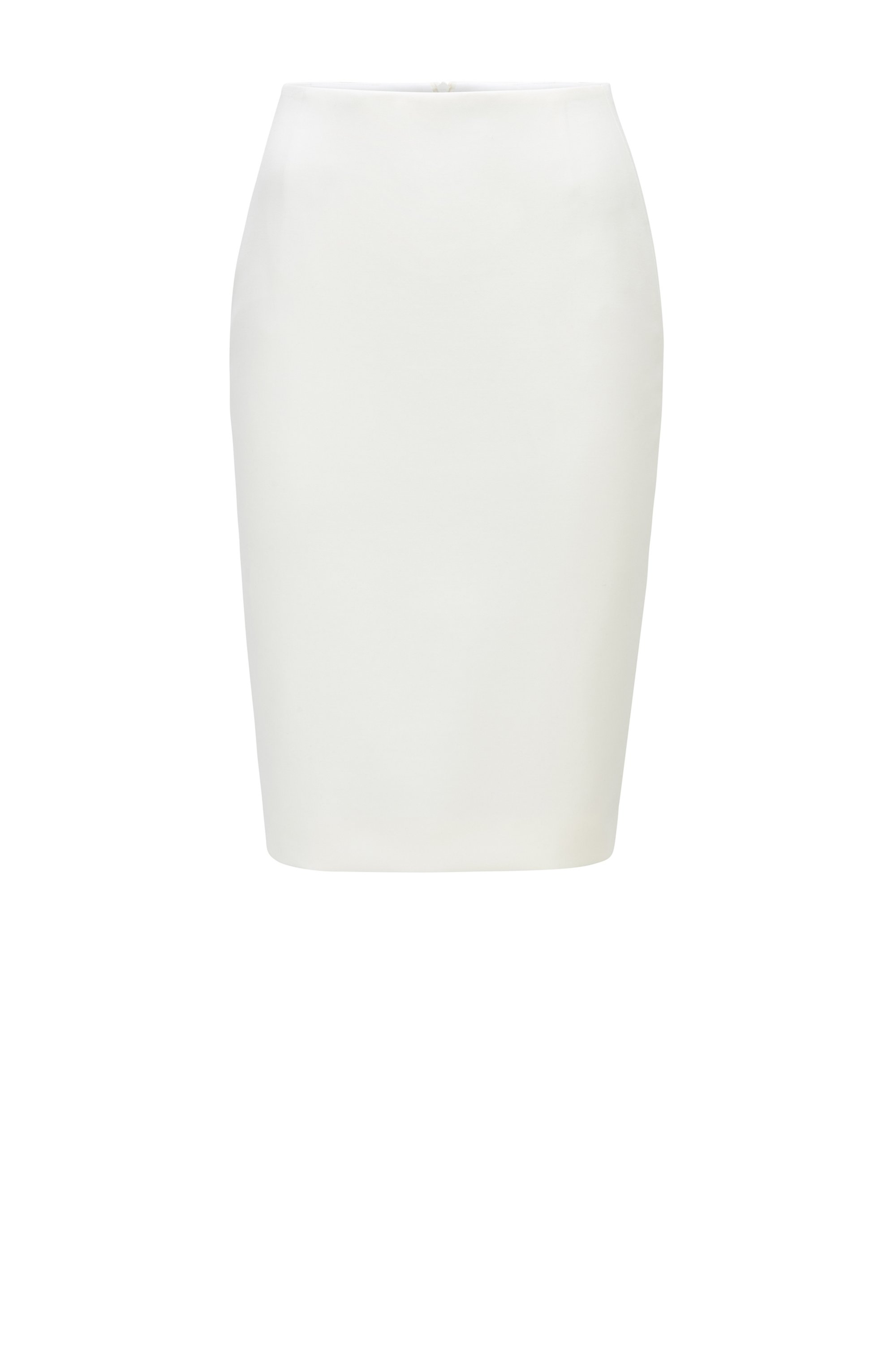 Slim-fit pencil skirt in Portuguese stretch fabric, White