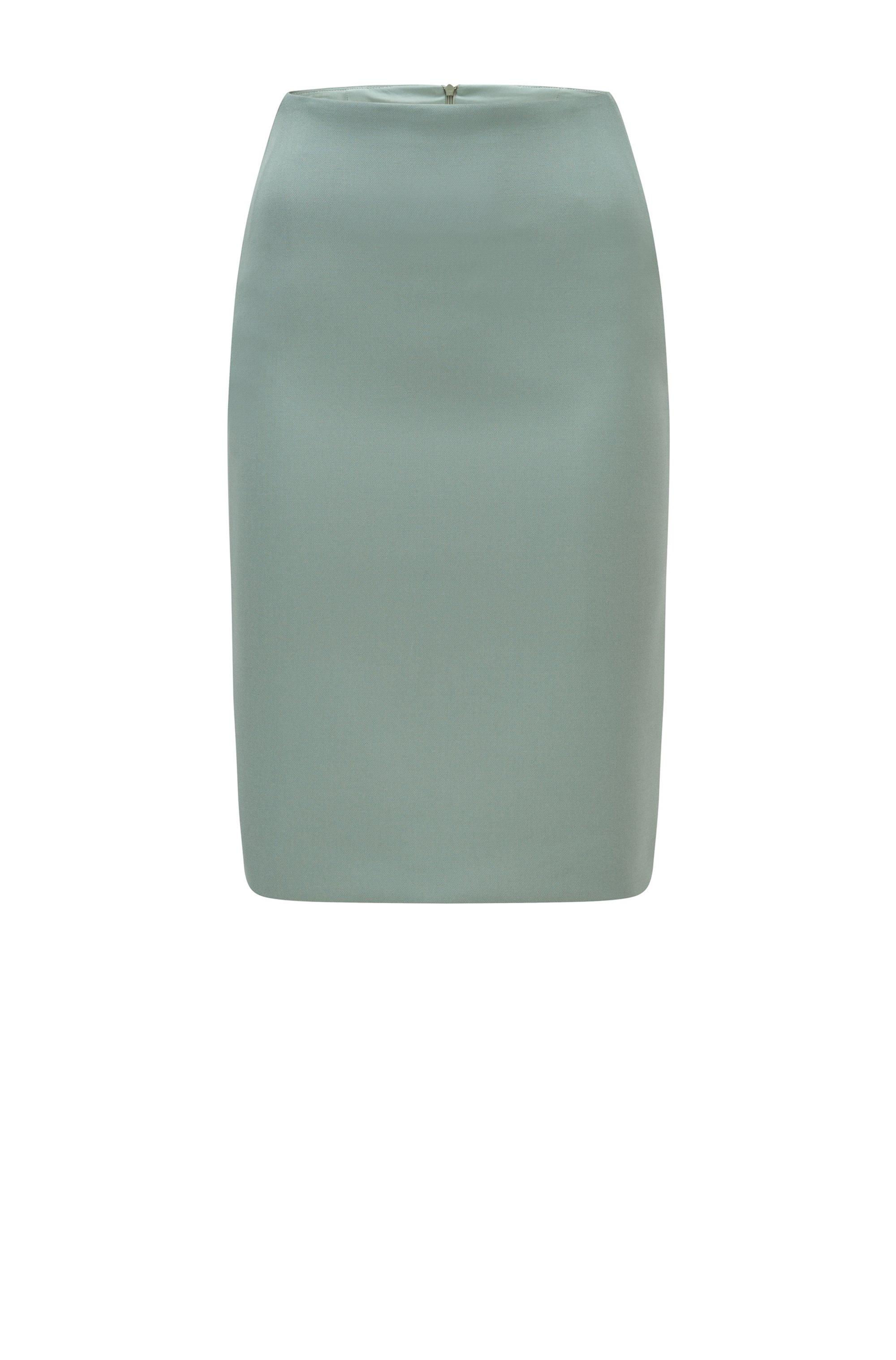 Slim-Fit Bleistiftrock aus portugiesischem Stretch-Gewebe, Hellgrün