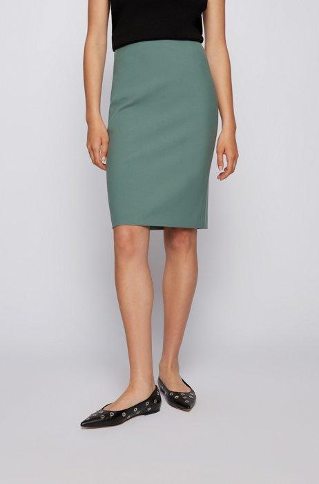 Slim-fit pencil skirt in Portuguese stretch fabric, Light Green