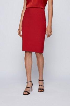 Slim-fit pencil skirt in Portuguese stretch fabric, Red