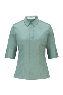 Short-sleeved blouse in cotton-blend poplin, Light Green