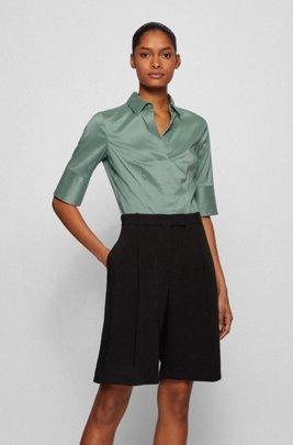 Short-sleeved blouse in cotton-blend poplin, Light Green