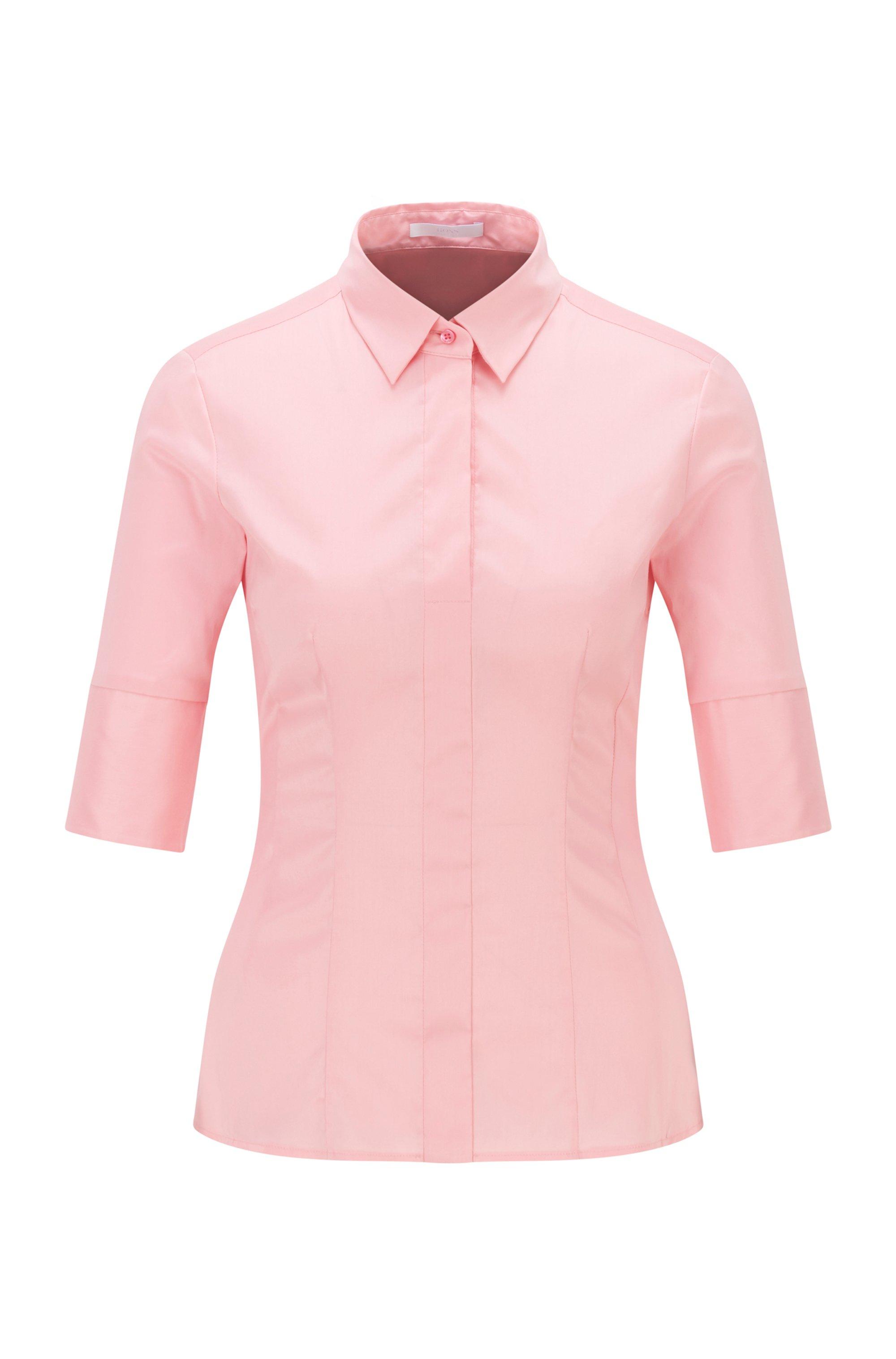 Blouse in een popeline van een katoenmix met korte mouwen, Pink