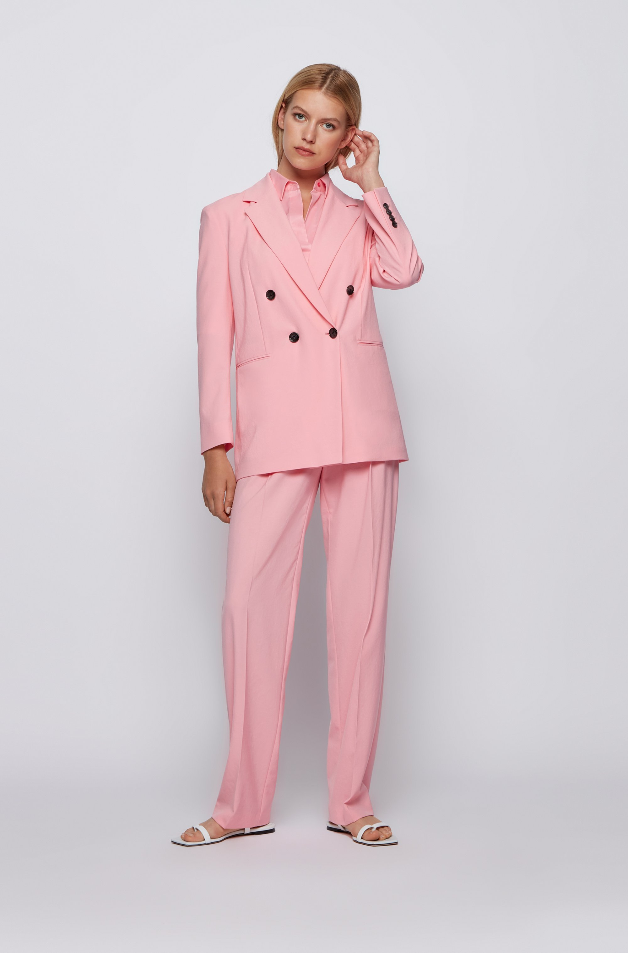 Short-sleeved blouse in cotton-blend poplin
