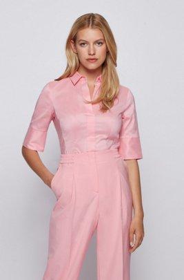 Short-sleeved blouse in cotton-blend poplin, Pink